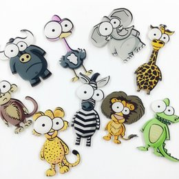 Wholesale Elephant Pins - Wholesale- Big Eye Badges Cartoon Elephant Giraffe Lion Zebra Brooch Pins Women Men Acrylic Brooches Lapel Pin Animal Jewelry Accessories