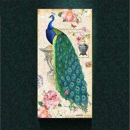 Peinture photo verte en Ligne-Rétro Vintage Green Peacock peinture photo art abstrait imprimé sur la toile, toile animal affiche peinture imprime, affiche de décoration murale