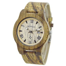 Wholesale Leather Glasses Cases For Men - Bewell W109C Mens Casual Wood Wristwatch Wood case Leather Strap Calendar Display Roman Numberal Quartz Wooden Watch for Men