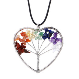 Wholesale Sterling Silver Chokers For Women - Tree of life necklace 7 chakra stone beads natural amethyst sterling-silver-jewelry chain choker necklace pendant for woman gift