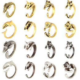 Wholesale Tiger Ring Band - Cute Animal Dog Dolphin Rabbit Tiger Open Adjustable Finger Ring Tail Rings band for Women Fashion Jewlery 080064