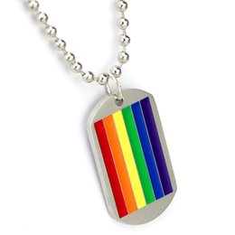 Wholesale Six Flags - MCW Classic Titanium Stainless Steel LGBT Six-Colors Rainbow Flag Pendant Necklace for Gay and Lesbian Pride Jewelry