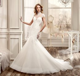 Wholesale Cross Through Beads - vestidos de noiva Tulle Sexy Mermaid Wedding Dresses High Neck See Through Back Lace Applique Court Train Bridal Gowns