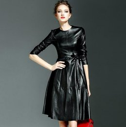 Wholesale Vintage Black Leather Skirt - 2016 autumn outfit the tide big PU leather skirt long women cultivate one's morality in European and American high-end long-sleeved dress