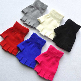 Wholesale wholesale wool gloves for women - New Fashion Short Half Finger Fingerless Wool Knit Wrist Glove Winter Warm Workout For Women And Men