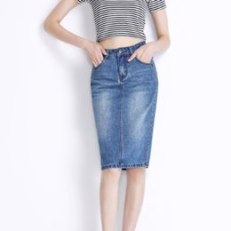 Wholesale Knee Skirt Denim Blue - Wholesale 2017 New Knee Length Vintage Women Denim Pencil Skirt Office Ladies Blue Casual Female Jean Bottoms Girl Clothing Zipper Skirts