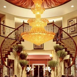 Wholesale Royal Lamps - high end luxury crystal chandelier hotel lobby lamp villa living room Golden royal family Crystal Chandeliers interior decoration lights