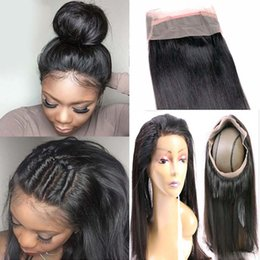 Wholesale 24 Inch Malaysian Lace - Malaysian Straight 360 Lace Frontal Closure with Bundles 3 Bundles Hair Extension Weave with 360 Lace Frontal Full Lace Frontal Human Hair