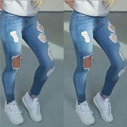 Wholesale Vintage High Waist Skinny Jeans - Wholesale- Boyfriend Hole Ripped Jeans Women Pants Cool Denim Vintage Straight Jeans For Girl High Waist Casual Pants Female Slim Jeans