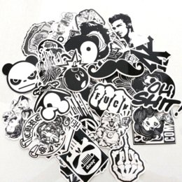 Wholesale Stickers Cases - 60PCS Pack Random music Skateboard Guitar Travel Case sticker Black and white Car decal Cute Stickers fashion funny sticker