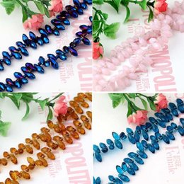 Wholesale Wholesale Briolette Bead - Free Shipping 50pcs lot 6x12mm Top Quality Briolette Pendants Waterdrop Glass Crystal Jewelry Loose Teardrop Beads For Jewelry Making DIY