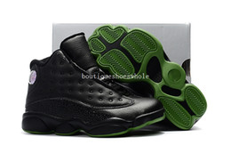 Wholesale 13 Wide - Kids retros Altitude basketball Shoes Kids 13 DMP Black Cat History of Flight Sneakers Kids Size 28-35 Come With Box