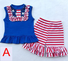american flags pants wholesale Coupons - summer 4th of july baby girls american flag fourth july outfits infant ruffle sleeve tops tshirt + ruffle shorts pants set
