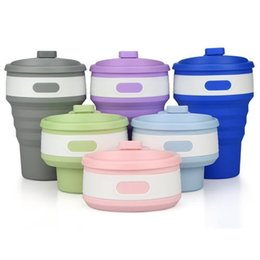 Wholesale Stylish Mug - Portable Collapsible Stylish Color Silicone Folding Retractable Mug Coffee Tea Cup For Hiking Travel Outdoor Activities