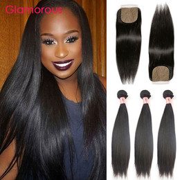 Wholesale Wholesale Silk Base Closure Extensions - Glamorous Brazilian Straight Hair with Silk Based Closure Dyeable Double Weft Virgin Human Hair Extension 3 Bundles with Closure 4Pcs Lot