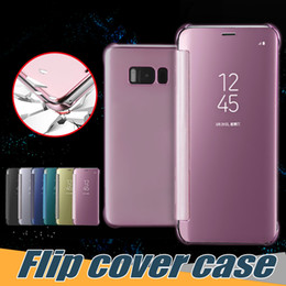 Wholesale Lg Flip Phone Cases - For Samsung Galaxy S8 Mirror Case Dormant Cover Phone Case Luxury Clear View Mirror Flip Electroplating Cases For LG G5 With Retail Case
