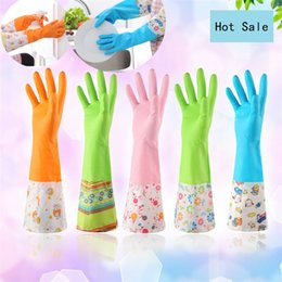 Wholesale long cleaning gloves - New Fashion Waterproof Dishwashing Gloves Magic PVC Long Anti Cold Gloves Cleaning Housework Kitchen Cleanning Gloves B0989