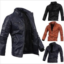 Wholesale Slim Leather Stand Collar - Men Locomotive Coat Leisure Leather Jackets Zipper Casual Jumper Slim Winter Outerwear Fashion Overcoat Top Outerwear Men's Clothing B2475