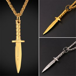 Wholesale Sword Pendants - U7 Dagger Sword Pendant Necklace Stainless Steel Gold Plated Rope Chain for Men Weapons Hiphop Biker Jewelry GP2468