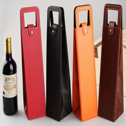 6533235926 Discount red paper bags handles - Luxury Portable PU Leather Single Red Wine  Bottle Tote Bag