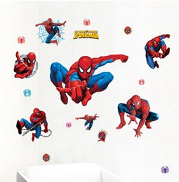 Wholesale Removable Wall Decals Spiders - Spider-man Wall Stickers Boy Bedroom Home Decal Kids window showcase mural adesivo de parede Bedroom Nursery