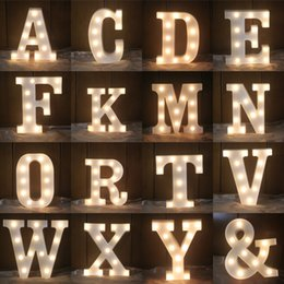 Wholesale alphabet sign - LED Night Light White 26 Letters Sign Alphabet Table Lamp For Birthday Wedding Party Bedroom Wall Hanging Photography Ornaments