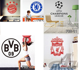 Wholesale Football World Cup Logo Art Poster Mural Football Club Home Decor Mark Flag Soccer Sign Vinyl Decal Removable Wall Stickers Free