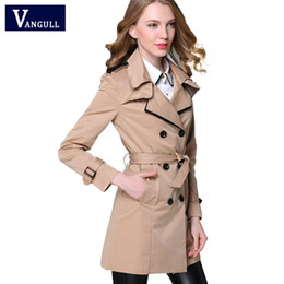 Wholesale Classic Khaki Trench Coat - Wholesale- VANGULL 2017 New Fashion Designer Brand Classic European Trench Coat khaki Black Double Breasted Women Pea Coat real photos