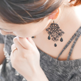 Wholesale Long Black Cross Earrings - 12 pairs Lot Vintage Black Lace Dangle Drop Earrings for Women Lace Hollow Out Flower Long Earring Gothic Jewelry Accessories 1005