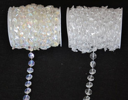 Wholesale Crystal Strands Decorations - Wholesale-30 Meters Diamond Crystal Acrylic Beads Roll Hanging Garland Strand Wedding Birthday Christmas Decor DIY Curtain WT052