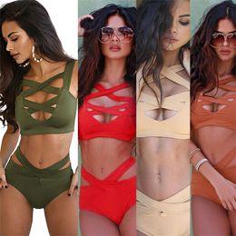 Wholesale Xxl Bikini Swimwear - Sexy Women's Swimwear 5 Colors Retro Women Sexy Bandage Bikini High Waisted bandage Cut Out Swimsuit Plus Size XL XXL High Cut Swimwear