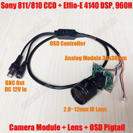 Wholesale Dsp Ccd Board Camera - Analog 700TVL Sony 811 810 CCD Effio-E DSP 2.8-12mm Manual Varifocal Lens CCTV PCB Board Camera Module OSD Menu Control Cable