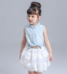 Wholesale Girls Demin Skirts - Girl dress set Outfits Baby clothes Girls Sets Cute Demin Jeans Short Sleeve Tops Lace Tutu Skirts suits 728
