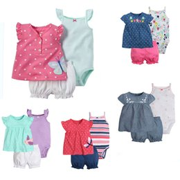 Wholesale Newborn Suspenders Wholesale - Clothing Sets 3 pcs Dresses+Shorts Bloomers+Suspenders Rompers Boutique Newborn Baby Girls Kids Infant Toddlers Summer Floral Striped Dots