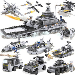 Wholesale Military Aircraft Toys - 8 in 1 Children 's Puzzle Assembling Building Blocks DIY Military Battleship Aircraft Tank Model Children's educational toys gifts