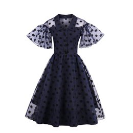 Wholesale Knee Length Swing Cocktail Dress - Unique Women's Polka Dot Chiffon Dresses 1950s 60s Style Flare Sleeve Plus Size A-line Cocktail Party Swing Rockabilly Summer Casual Dress