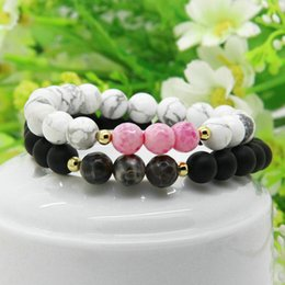 Wholesale Pink Bracelet Ring - New Designs Couples Jewelry Wholesale 5set lot 8mm Matte Agate And White Howlit Pink Stone Distance Lovers Bracelets