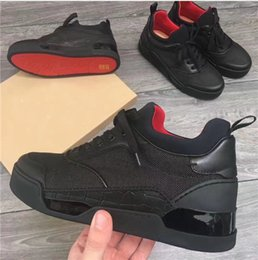 Wholesale Roller Clay - Brand spikes luxury pik boat roller boat men designer suede shoes patent leather red bottoms sneakers mens louboutin canvas shoes black NEW