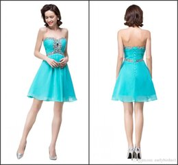 Wholesale Turquoise Cocktail Dress Knee Length - 2017 Turquoise Real Image Cocktail Dresses Sweetheart with Beads A Line Knee Length Short Homecoming Gowns Custom 342