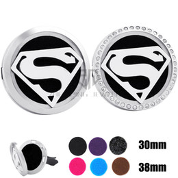 Wholesale Magnet Hot - Hot Sale Silver Superman (30-38mm) Magnet Diffuser Car aromatherapy Locket Free Pads Essential Oil 316 Stainless Steel Car Diffuser Lockets