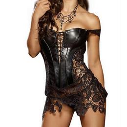 Wholesale Plus Size Faux Leather Skirts - Sexy leather corsets skirt lace-up hollow out corsele black faux leather lace Shaper Bustier Plus Size Steampunk Corset Dress
