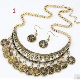 Wholesale Festival Chic - Gypsy Bohemian Beachy Chic Coin Statement Necklace Boho Festival Silver Fringe Bib Coin Ethnic Turkish India Tribal Necklace Earring Sets