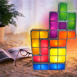 Wholesale Small Desk Lamp Wholesale - Tetris Puzzle Desk Lamp LED Constructible Block Table bed small Decorative Stackable Night Light- Novelty magic puzzle cube Christmas Gift