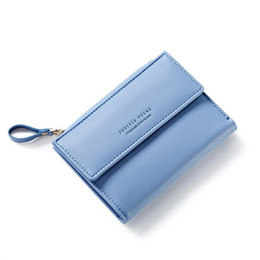Wholesale Small Leather Pocket Change Holder - Wholesale- Small Women Zipper Wallet Female Fashion Lady Wallet Short Solid Color Change Purse Hot Female Clutch Carteras