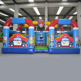 Wholesale Police Car Sales - AOQI police station fun city inflatable bouncer car theme kids toy inflatable for entertainment city cheap sale