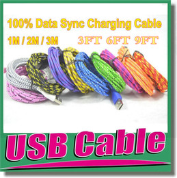 Wholesale Iphone Ft Cable - A+++ Quality 1M 2M 3M 3 FT 6FT 9FT Durable Fabric Fiber Braided Micro USB Cable Sync Data Cord Charger for Samsung Galaxy S3 S4 Note 2 OM-E3