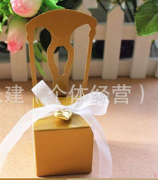 Wholesale Gold Chairs Wedding Favors - Wholesale-100pcs lot free shipping Wedding White Gold Silver Chair Candy Box Wedding Gift Box Wedding Favors paper box 4*4*11cm