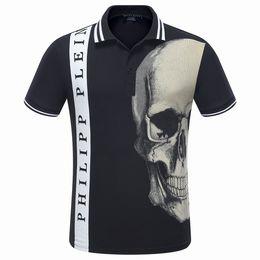 Wholesale European Blue Rhinestones - 2017 New Fashion European Top Brand Mens Short PoloShirt Fit Slim Desinger Print 3D Rhinestone Skulls Casual l Mens T-Shirts P1057-1062