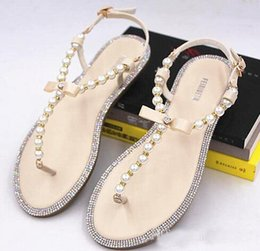 Wholesale Lavender Wedges - Brand women's sandals hot sale new summer beaded stone pearl female sandals Rome flat sandwich toe women's sandals flat wedding shoes