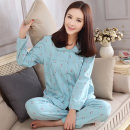 Wholesale Womens Plus Size Pajamas Sets - Wholesale- Plus size M-3XL women pajamas womens clothing set long sleeve cotton pyjama home evening dressing for women